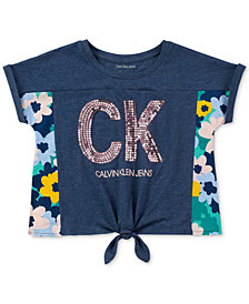 Calvin Klein Big Girls Flora Burst Tie-Front T-Shirt