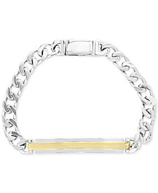 EFFY® Men's Two-Tone ID Plate Link Bracelet in Sterling Silver & 18k Gold Plate