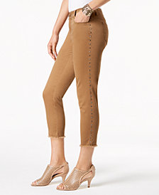 Style & Co Petite Fray Hem Studded Skinny Pants, Created for Macy's