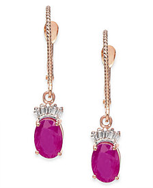 Ruby (2 ct. t.w.) & Diamond (1/10 ct. t.w.) Drop Earrings in 14k Rose Gold