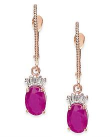 Ruby (2 ct. t.w.) & Diamond (1/10 ct. t.w.) Drop Earrings in 14k Rose Gold