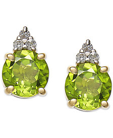 Peridot (2 ct. t.w.) & Diamond Accent Stud Earrings in 14k Gold