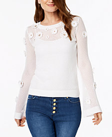 MICHAEL Michael Kors Cotton Embellished Mesh Sweater