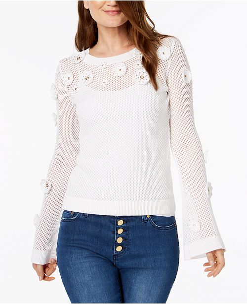 5d93e572f5 Michael Kors Cotton Embellished Mesh Sweater - Sweaters - Women - Macy s