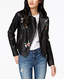 Jou Jou Juniors' Embroidered Faux-Leather Moto Jacket