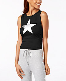 Material Girl Juniors' Ruched Metallic-Graphic Top, Created for Macy's