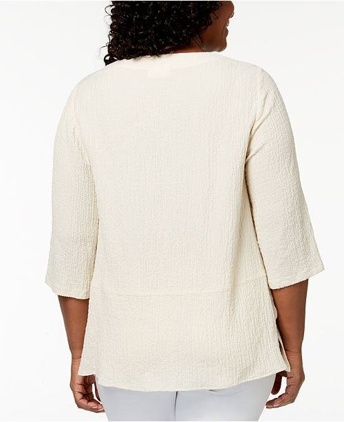 14c7257e38d806 ... JM Collection Plus-Size Crinkled Button-Detail Top, Created for Macy's  ...