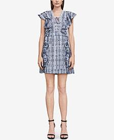 BCBGMAXAZRIA Caralyne Cotton Embroidered Plaid Dress