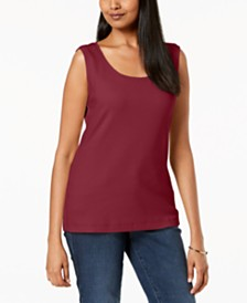 Karen Scott Scoop-Neck Cotton Tank Top, Created for Macy's