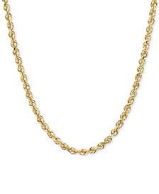 "14k Gold Necklace, 20"" Diamond Cut Rope Chain (2-1/2mm)"
