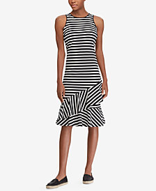 Lauren Ralph Lauren Striped Ruffled Cotton Dress