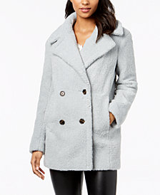 kensie Double-Breasted Faux-Fur Peacoat