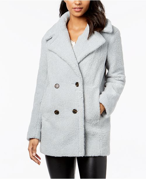 e087d5444f kensie Double-Breasted Faux-Fur Teddy Coat & Reviews - Coats - Women ...
