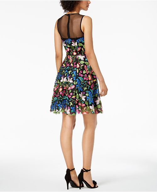 2508ebbe168a ... Tahari ASL Floral Embroidered-Mesh Illusion Fit & Flare Dress ...