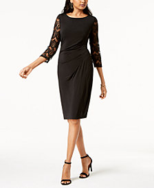 Jessica Howard Ruched Lace-Sleeve Dress