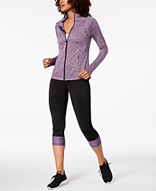 Ideology Performance Jacket & Cropped Colorblocked Leggings, Created for Macy's