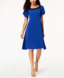 NY Collection Petite Colorblocked A-line Dress