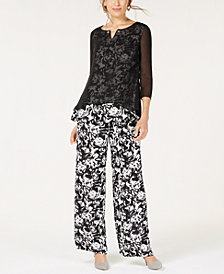 JM Collection Mesh Top & Wide-Leg Pants, Created for Macy's