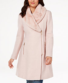 I.N.C. Faux-Fur-Trim Asymmetrical Walker Coat, Created for Macy's