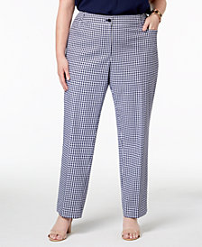 Anne Klein Plus Size Gingham Check Straight-Leg Pants