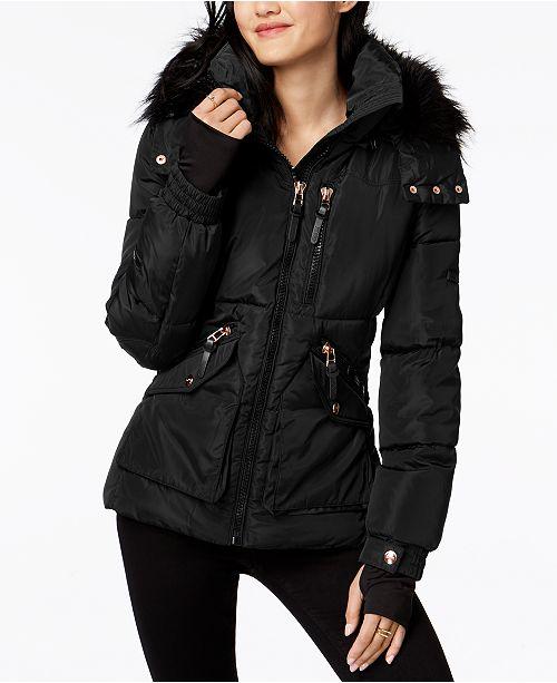 buy sale in stock wholesale price Juniors' Faux-Fur-Trim Hooded Puffer Coat