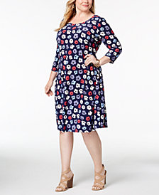 Anne Klein Plus Size Floral-Print Dress