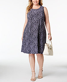 Anne Klein Plus Size Printed Sleeveless Dress