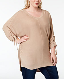One A Plus Size Drawstring-Sleeve Sweater