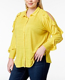 Plus Size Ruffled Cold-Shoulder Shirt