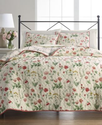 Washed Floral 100% Cotton Reversible Twin Quilt, Created for Macy's