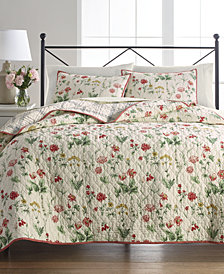 Martha Stewart Collection Washed Floral 100% Cotton Reversible Twin Quilt, Created for Macy's