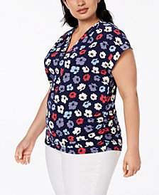 Anne Klein Plus Size Printed Cap-Sleeve Top