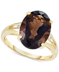 Smoky Quartz (7-1/6 ct. t.w.) and Diamond Accent Oval Ring in 14k Gold