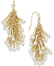 I.N.C. Gold-Tone Imitation Pearl Shaky Chandelier Earrings, Created for Macy's