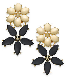I.N.C. Gold-Tone Stone Flower Drop Earrings, Created for Macy's