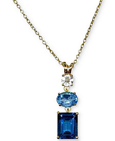 "Blue Topaz (3-1/3 ct. t.w.) & White Topaz (1/3 ct. t.w.) Pendant Necklace in 14k Gold-Plated Sterling Silver, 16"" + 2"" extender"