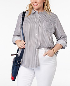 Plus Size Cotton Striped Button-Down Shirt, Created for Macy's