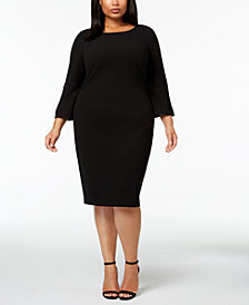 Calvin Klein Plus Size Faux-Pearl Bell-Sleeve Dress
