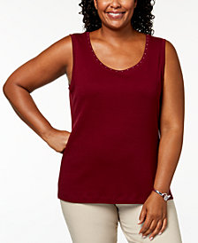 Karen Scott Plus-Size Studded Tank Top, Created for Macy's