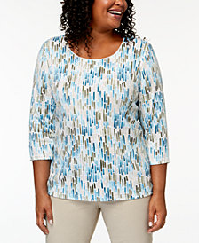 Karen Scott Plus-Size Printed 3/4-Sleeve Top, Created for Macy's