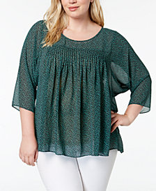 MICHAEL Michael Kors Plus Size Printed Pleated-Yoke Blouse