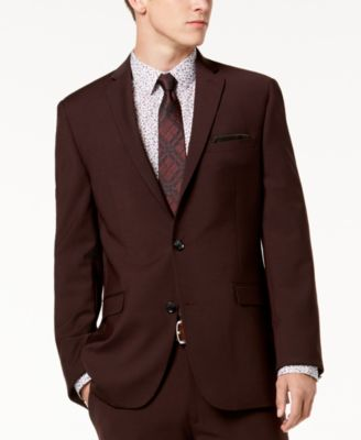 Men's Slim-Fit Active Stretch Wine Solid Suit Jacket, Created for Macy's