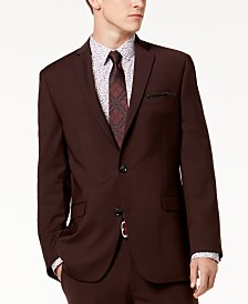 Bar III Men's Slim-Fit Active Stretch Wine Solid Suit Jacket, Created for Macy's