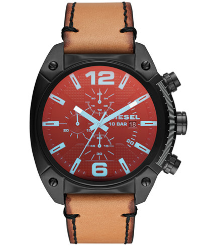 Diesel Men's Overflow Brown Leather Strap Watch 49mm