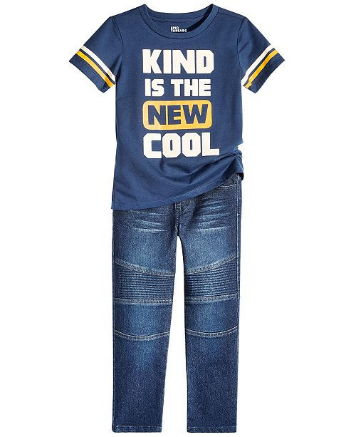 Epic Threads Little Boys Graphic-Print T-Shirt & Moto Denim Jeans Separates, Created for Macy's