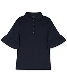 Nautcia Big Girls Bell-Sleeve Polo Shirt