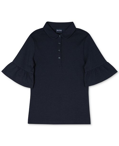Nautica Nautcia Big Girls Bell-Sleeve Polo Shirt