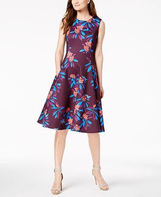 Calvin Klein Floral Scuba Fit Flare Midi Dress Dresses Women