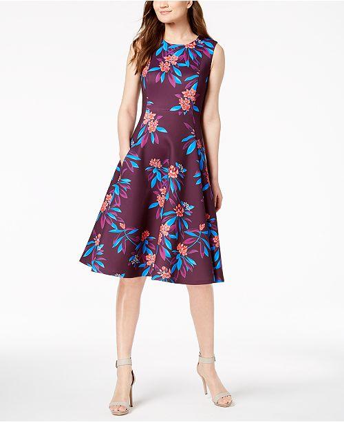 5e35ff07360e Calvin Klein Floral Scuba Fit   Flare Midi Dress   Reviews - Dresses ...