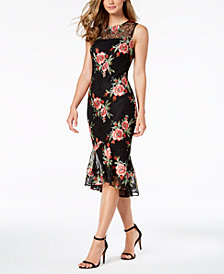 Calvin Klein Embroidered-Lace Illusion Sheath Dress